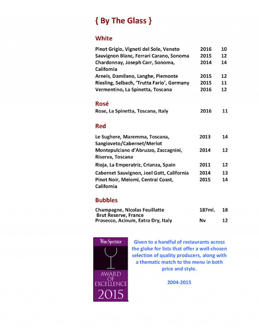 Our Complete Wine List - Jonathan's Ristorante