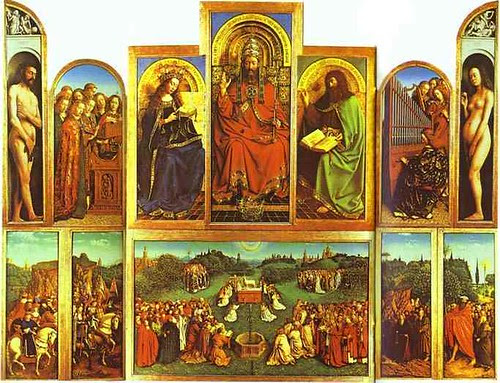 Van Eyck, Jan (1390-1441) -  1432 The Ghent Altar with altar wings open by RasMarley