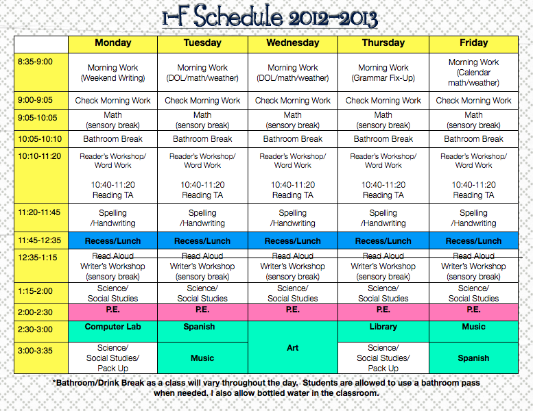 Grade 2 Daily Schedule | Daily Planner