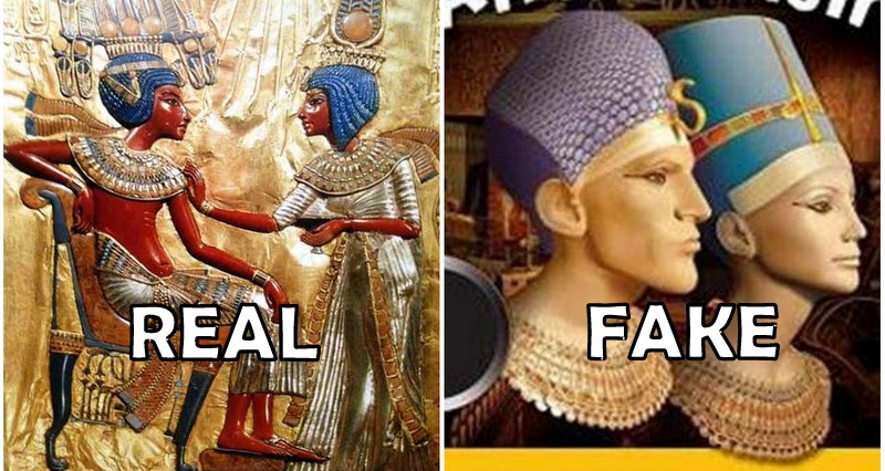 Left : Pharaoh Tuankha Imana (Tutankhamun) and his wife queen of Egypt Ankh Sen Imana, daughter of Akhenaton and Nefertiti Right : Book cover on Egyptians published in the West and Asia. The noses are so sharp that they could tear the cover. This imaginary pharaoh is also very handsome with his tiny knots of the miliatry pharaonic helmet which represent frizzy hair. We are amazed.