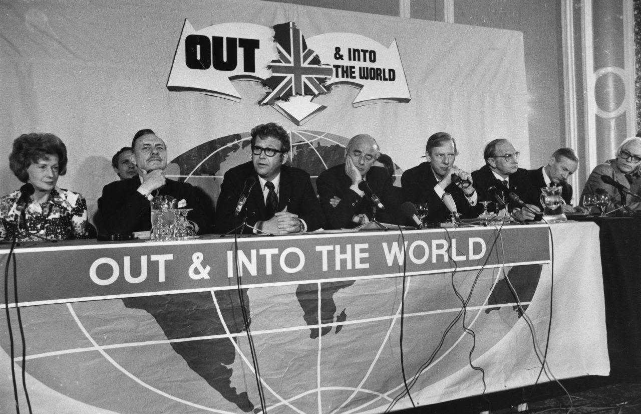 4th June 1975:  British politicians Barbara Castle (left), Enoch Powell (second left) and Michael Foot (far right) at a conference in the Waldorf Hotel, London, to campaign against British entry into the common market.  (Photo by Peter Cade/Central Press/Getty Images)