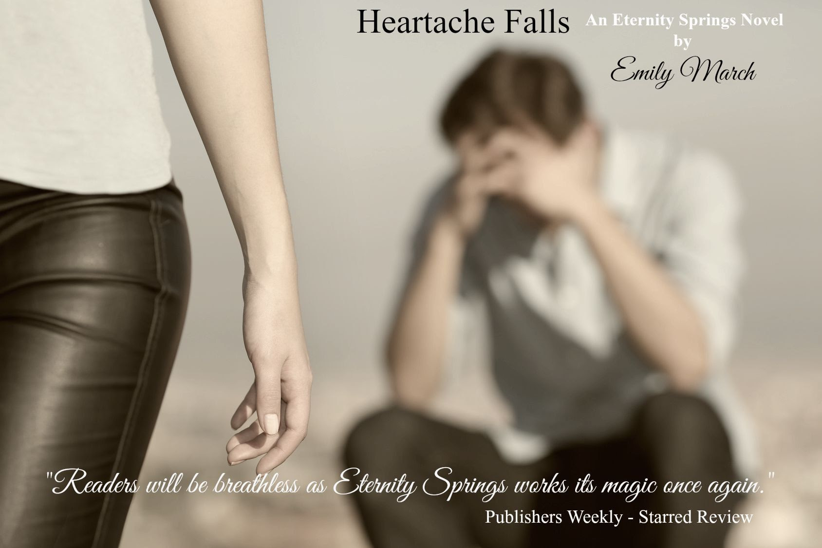 A photo teaser with reviewer's quote for Heartache Falls, by Emily March