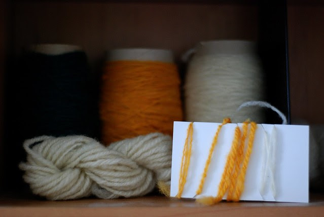 Ongoing project - Handspun yarn with control reference card