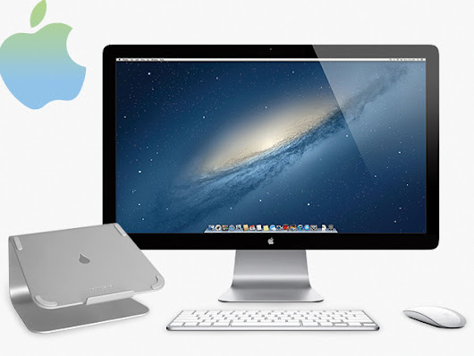 Step Up Your Desk With A 27in Apple Thunderbolt Display, Wireless Keyboard, Magic Mouse & Laptop Stand