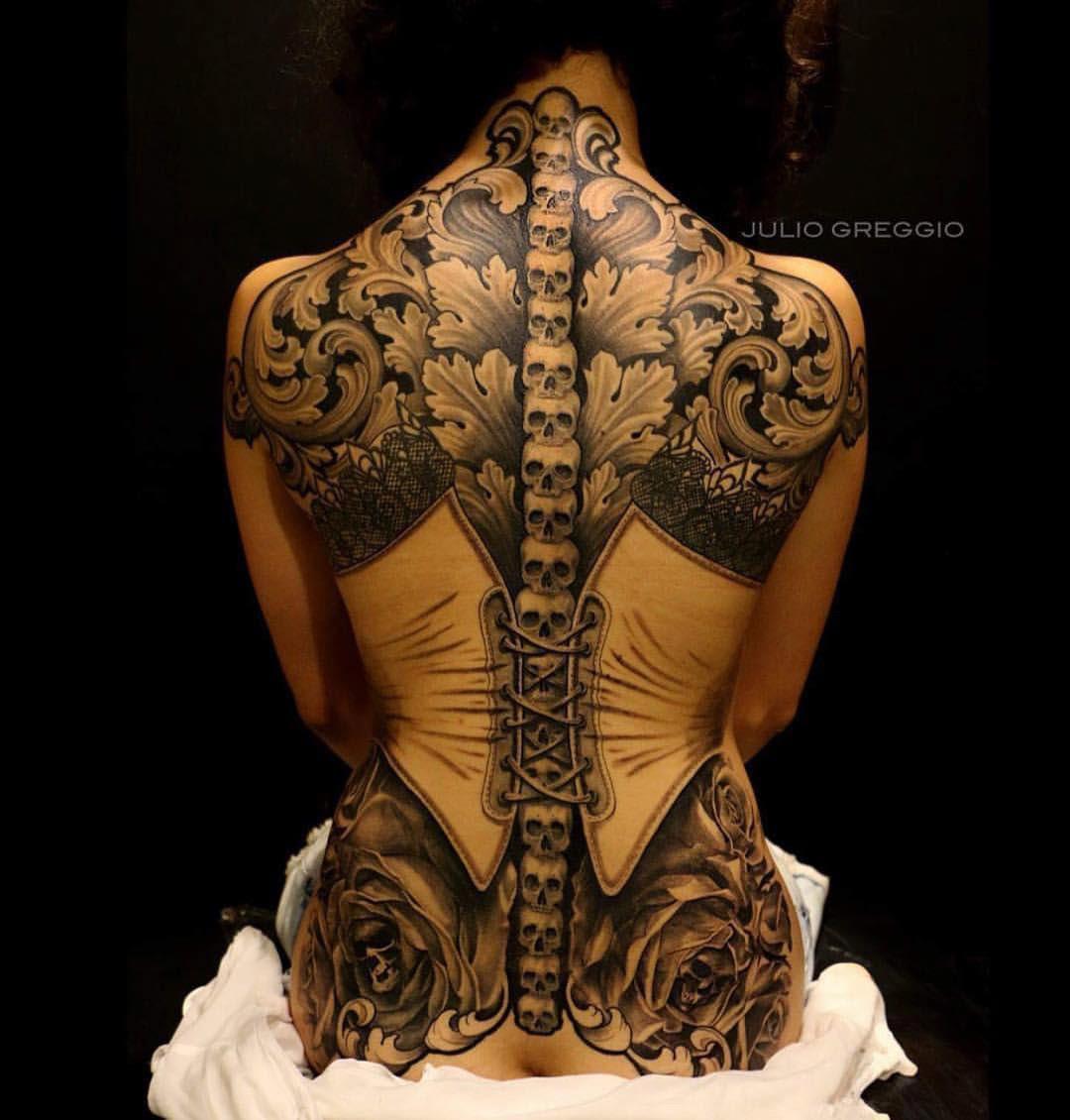 Corset With Skulls Filigree Best Tattoo Design Ideas