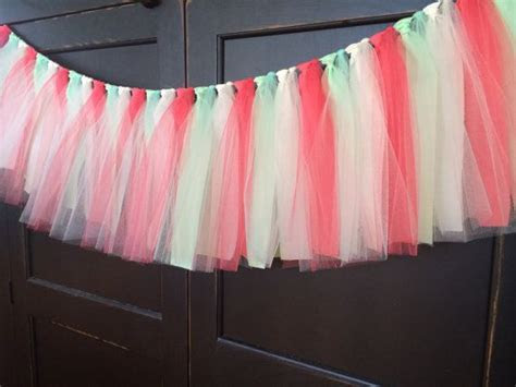 Coral and Mint Tutu Rag Tie Fringe Garland, Bunting