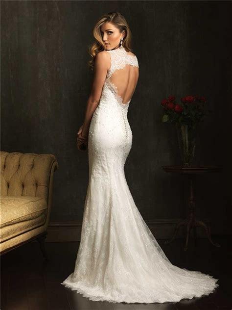 Classic Slim Mermaid V Neck Lace Beaded Wedding Dress With