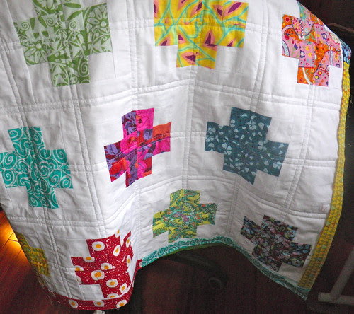 Modern Crosses Quilt - ready for hand sewing the binding