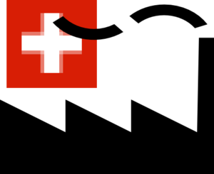 Icon of a factory with a swiss flag