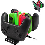 For Joy Con and Pro Controller Charger 6-in-1 Charging Dock For Nintendo Switch JoyCon, Pro Controller and Console Accessories, with USB C Fast Charge