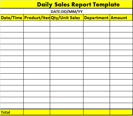 Daily Sales Report Format In Excel | Daily Planner