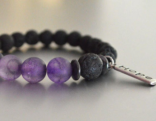HOPE Lava Beaded Bracelet Black w Purple Accent Beads stretchy