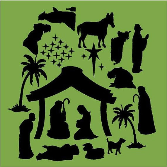 Vinyl Wall Decal......Nativity Set - winter vinyl decal art holiday stable donkey wisemen Jesus large