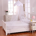 Epoch Hometex Sheer Pom Pom Collapsible Hoop Kids Bed Canopy (White)