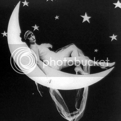 vintage paper moon pinup woman