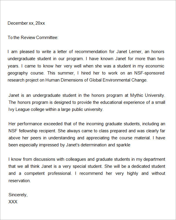 87 Free Letter Of Recommendation For Graduate School From