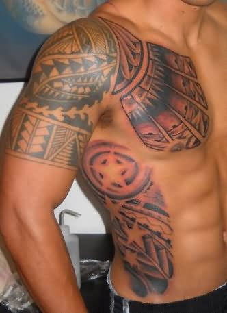 Maori Indian Tattoo On Shoulder And Rib