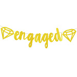 Engaged Gold Glitter Banner with Diamond - Wedding, Bridal, Engagement Party Decoration Supplies - 5.25 Feet in Length