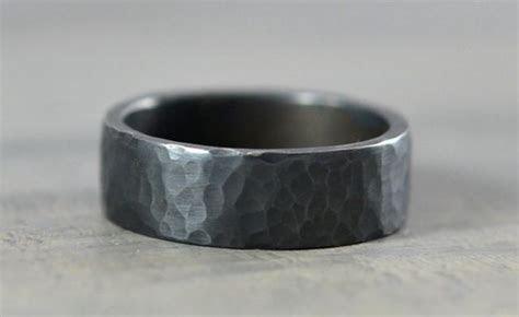 Sterling Silver Mens Wedding Bands   Hammered Ring   7mm