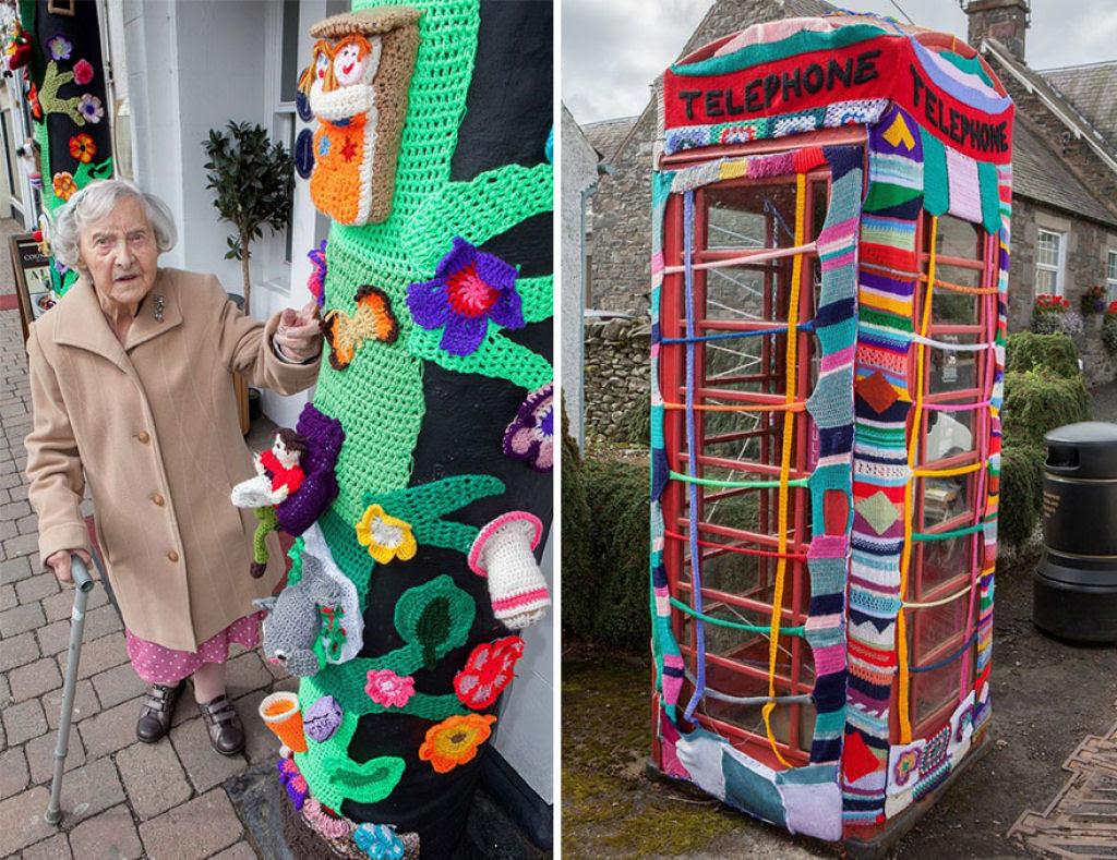Artista urbana de 104 anos enche sua cidade com suas obras de crochê 02