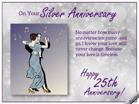 Silver Anniversary Wishes. Free Milestones eCards