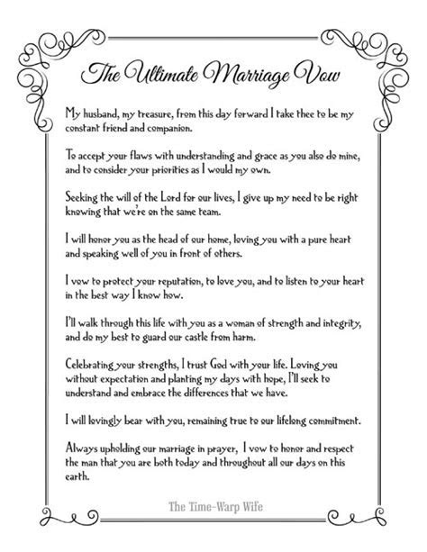 Free Printable   The Ultimate Marriage Vow   Time Warp Wife