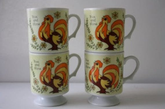 Set of 4 Vintage Coffee Mugs - Rise and Shine Rooster