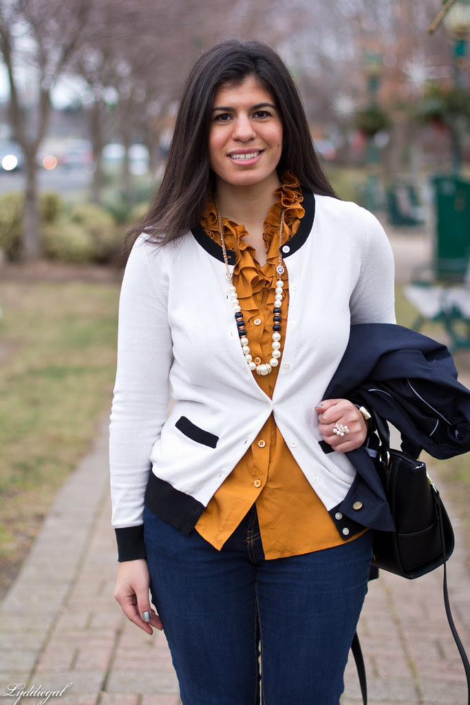 orange ruffled blouse, navy blazer-4.jpg