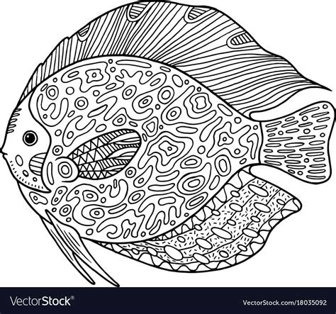 doodle zentangle fish coloring page  animal vector image
