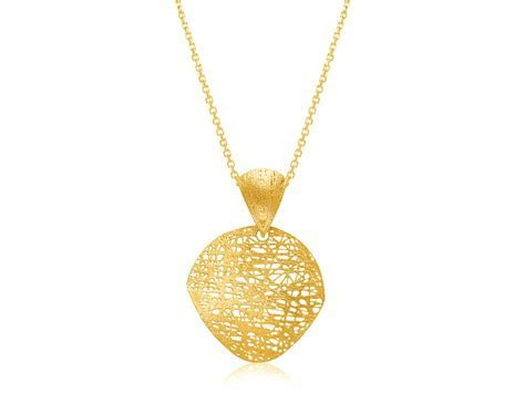 Mesh Wire Leaf Motif Pendant in 14k Yellow Gold   Richard