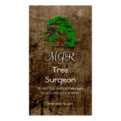 Monogram, Tree Surgeon, leather-effect Business Card Template