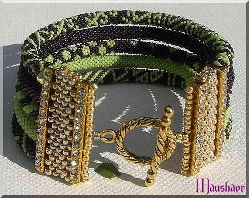Lila-grünes Armband