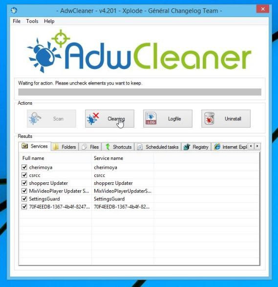 Remove adware with AdwCleaner
