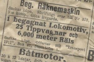 Annons anno 1917