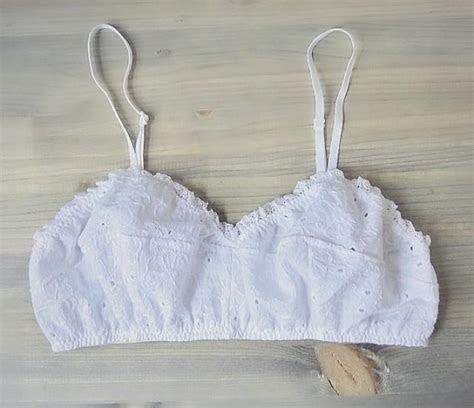 Organic Cotton Eyelet Bralette   White Cotton Lace Soft