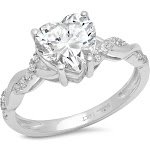 Brilliant Heart Cut Diamond Engagement / Anniversary Ring Solid 14k White gold - 11 by Clara Pucci
