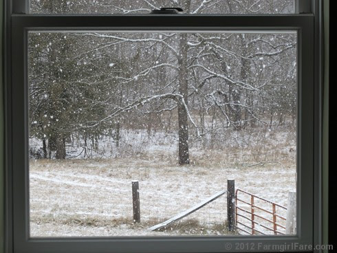 Snowfall through the upstairs windows 4 - FarmgirlFare.com