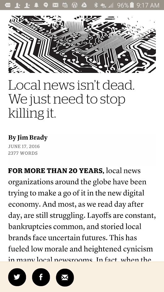 Jim Brady nails the errors and the potential in local news