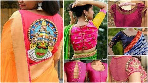 Trendy silk saree blouse designs catalogue 2018   Simple