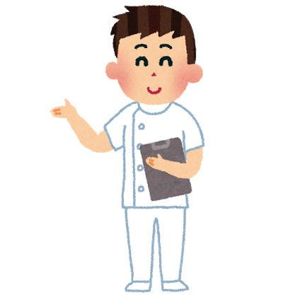 フリー素材 優しい雰囲気の男性看護師ナースマンを描いたイラスト