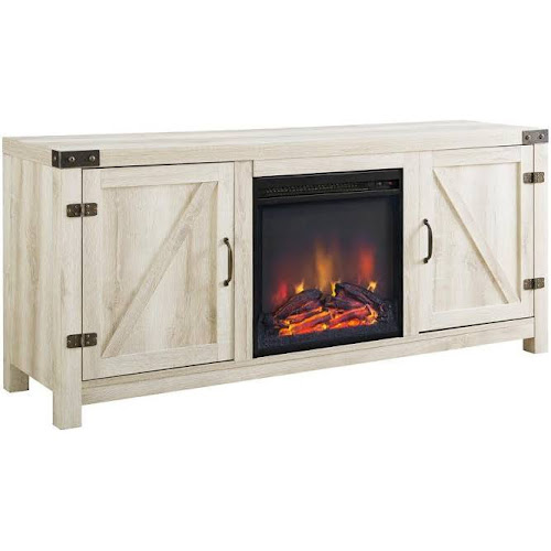 Walker Edison Barn Door Fireplace Tv Stand White Oak Google Express
