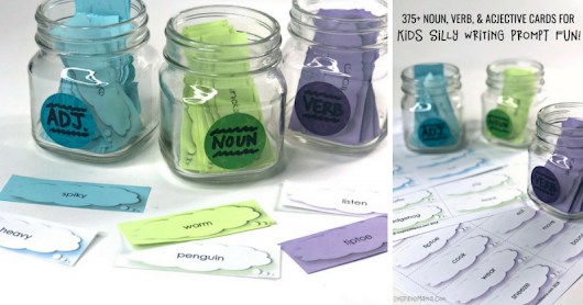 Nouns, Verbs, and Adjectives Cards for Silly Kids Writing Prompts