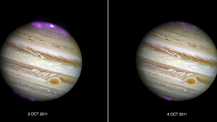 Composite images from the Chandra X-Ray Observatory and the Hubble Space Telescope show the hyper-energetic x-ray auroras at Jupiter. The image on the left is of the auroras when the coronal mass ejection reached Jupiter, the image on the right is when the auroras subsided. The auroras were triggered by a coronal mass ejection from the Sun that reached the planet in 2011. Image: X-ray: NASA/CXC/UCL/W.Dunn et al, Optical: NASA/STScI