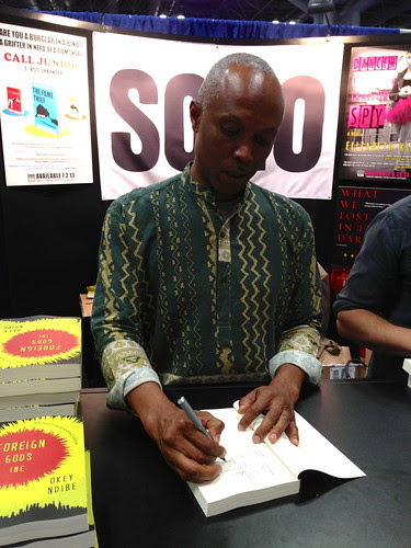 Okey Ndibe signing his book at BEA 2013