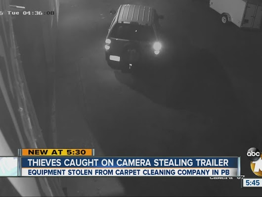 Camera catches thieves stealing trailer from Pacific Beach carpet company