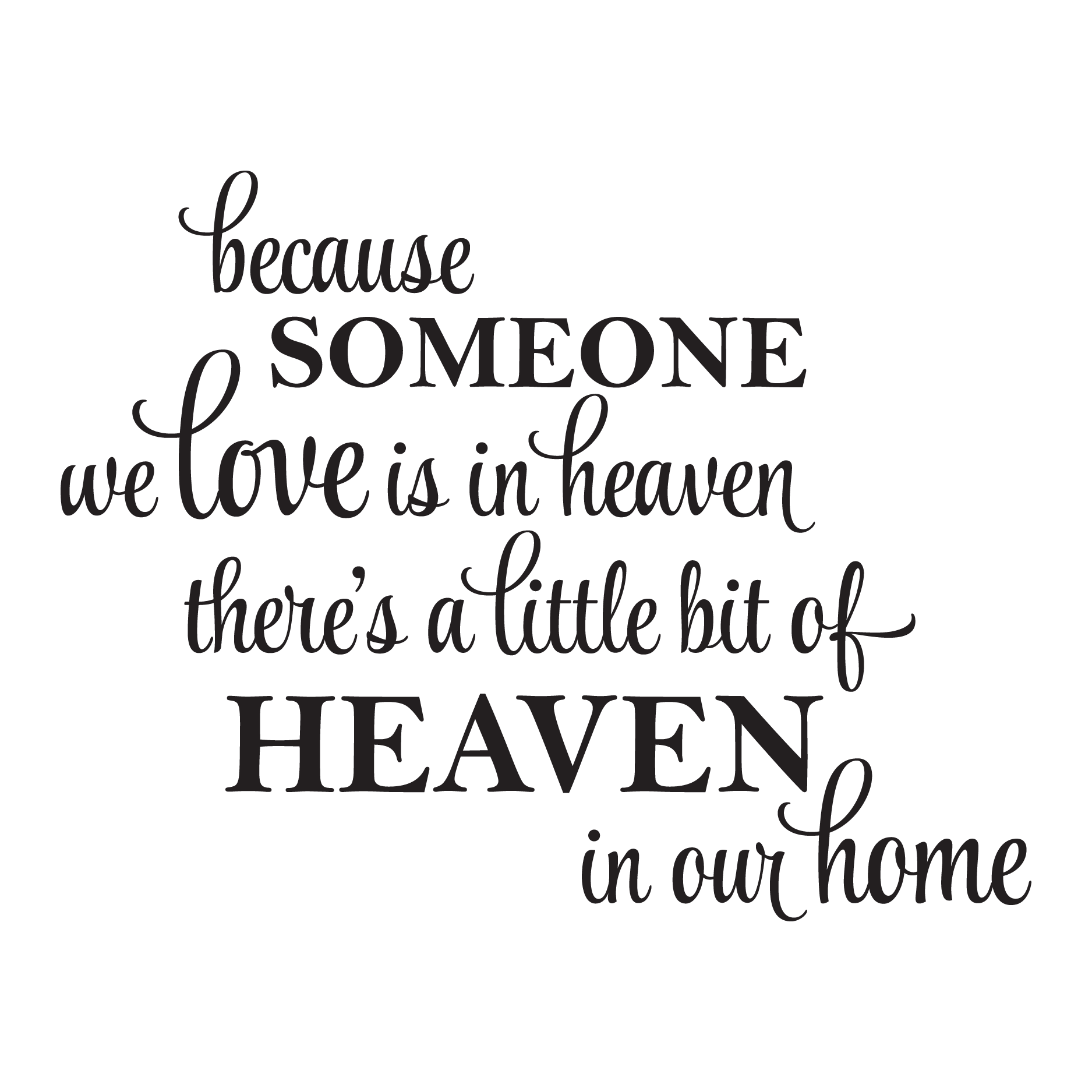Because Someone We Love Is In Heaven There s A Little Bit Heaven In Our Home