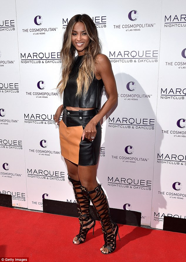 Rocking it! Ciara looked head-to-toe glam in a sexy leather outfit as she showed off her diamond engagement ring  in Las Vegas on Saturday