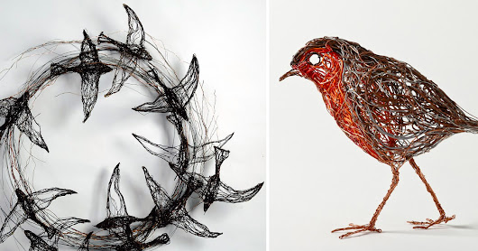 Bird Sculptures Constructed from Wire by Celia Smith Look like Detailed Sketches