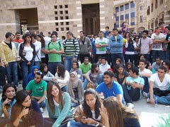 Students listening to short talks at the #AUCworkers strike
