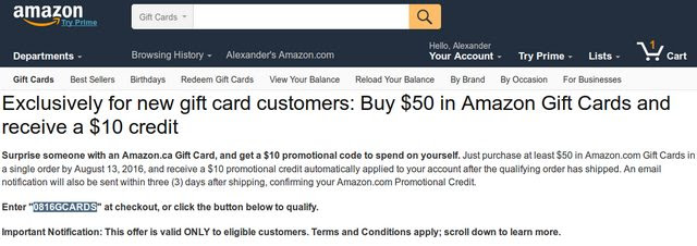 Amazon offers $10 for purchasing a $50+ Amazon gift card